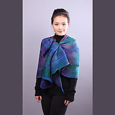Shibori Shawl in Turquoise and Royal Blue by Min Chiu and Sharon Wang (Silk Scarf)