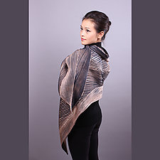 Shibori Shawl in Black and Beige by Min Chiu  and Sharon Wang  (Silk Scarf)