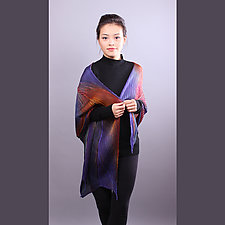 Shibori Shawl in Purple and Orange Red by Min Chiu and Sharon Wang (Silk Scarf)