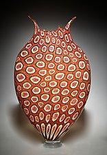 Cherry & Gold Foglio by David Patchen (Art Glass Vessel)