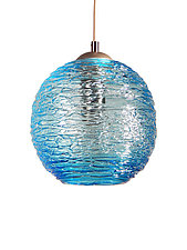 Spun Glass Globe Pendant Light in Aqua by Rebecca Zhukov (Art Glass Pendant Lamp)