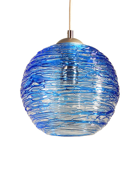 Spun Glass Globe Pendant Light in Cerulean Blue