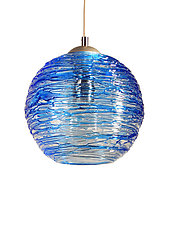 Spun Glass Globe Pendant Light in Cerulean Blue by Rebecca Zhukov (Art Glass Pendant Lamp)