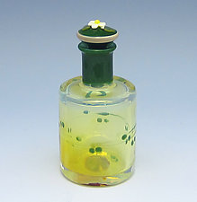 Green Cylinder Swirl by Chris Pantos (Art Glass Perfume Bottle)