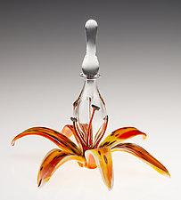 Daylily Perfume Bottle by Loy Allen (Art Glass Perfume Bottle)