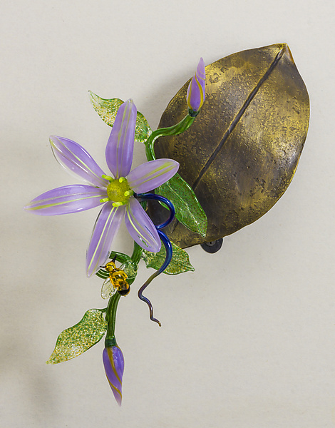 Wall-Mounted Clematis on Leaf
