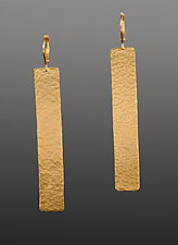 Hammered Rectangle Earrings by Lisa Crowder (Gold & Silver Earrings)