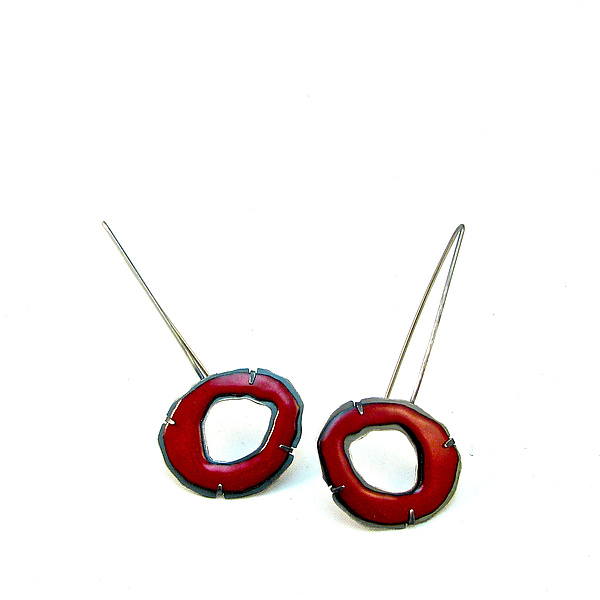 Small Single Enamel Rough Cut Earrings