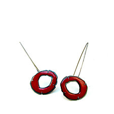 Small Single Enamel Rough Cut Earrings by Lisa Crowder (Enameled Earrings)