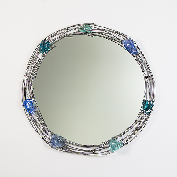 Glass Rock Mirror in Ocean Blues