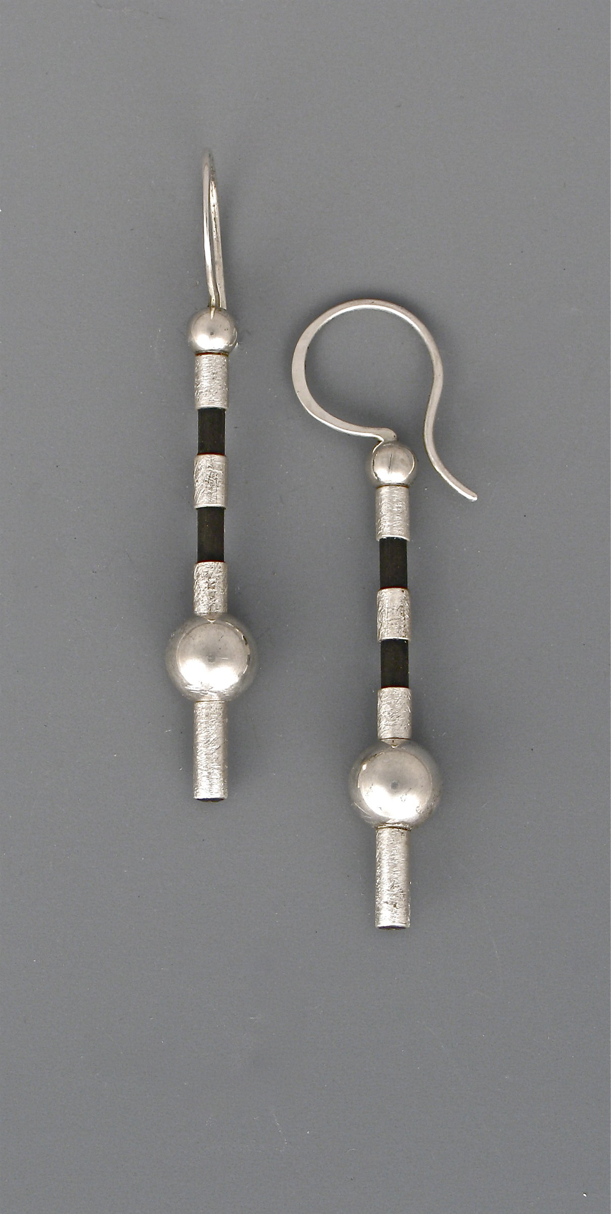 Silver and Black Drops Earrings