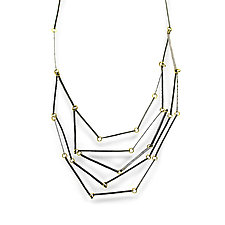 18k Gold and Oxidized Silver Geo Necklace by Sophie Hughes (Gold & Silver Necklace)
