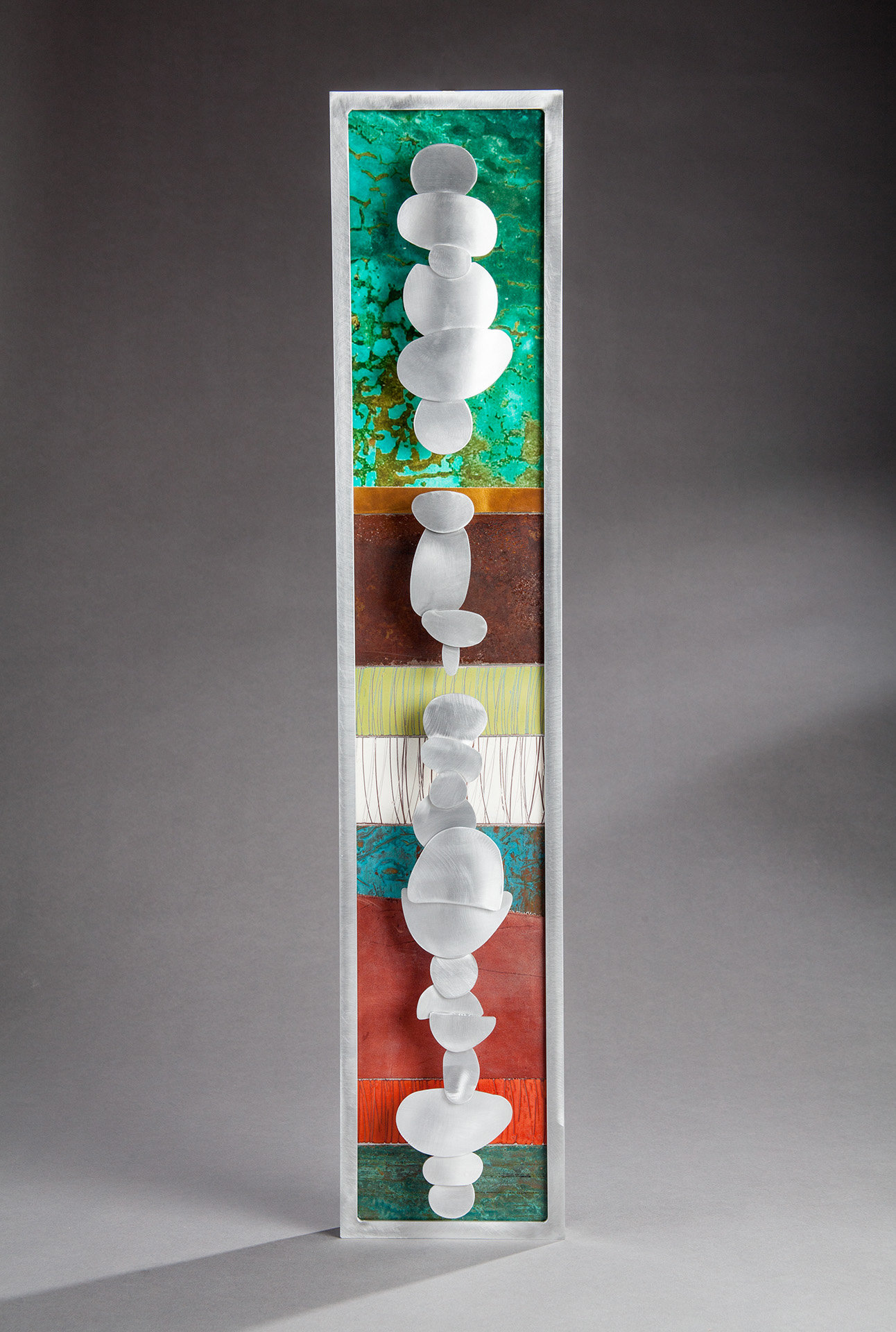 Metal Sculptures And Art Wall Decor: Stacked Cairns Small By Cherie Haney (Metal Wall Sculpture