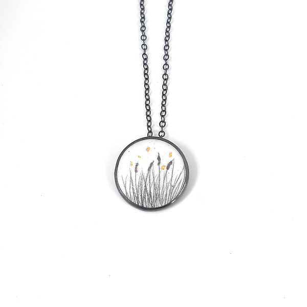 Small Round Enamel Pendant with Cattails