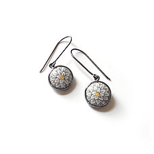 Chrysanthemum Button Dangles by Nicolette Absil (Enameled Earrings)