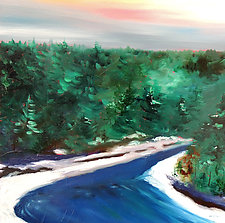 Late Winter River by Mary Johnston (Oil Painting)