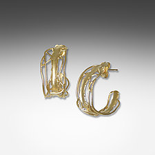 Medium Gold Edge Hoops by Suzanne Q Evon (Gold & Silver Earrings)