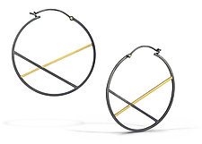 Black and Gold X Hoops by Laura Jaklitsch (Gold & Silver Earrings)