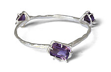 Three Geo Bangle with Amethyst by Aimee Petkus (Silver & Stone Bracelet)