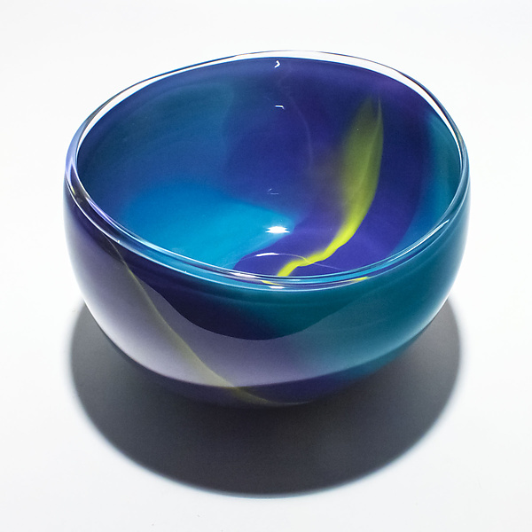 Opaque Ribbon Bowl in Turquoise Dark Violet Lime