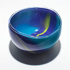 Opaque Ribbon Bowl in Turquoise Dark Violet Lime by Michael Trimpol and Monique LaJeunesse (Art Glass Bowl)