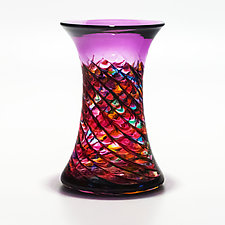 Optic Rib Cooling Tower in Pink Multi with Violet by Michael Trimpol and Monique LaJeunesse (Art Glass Vessel)
