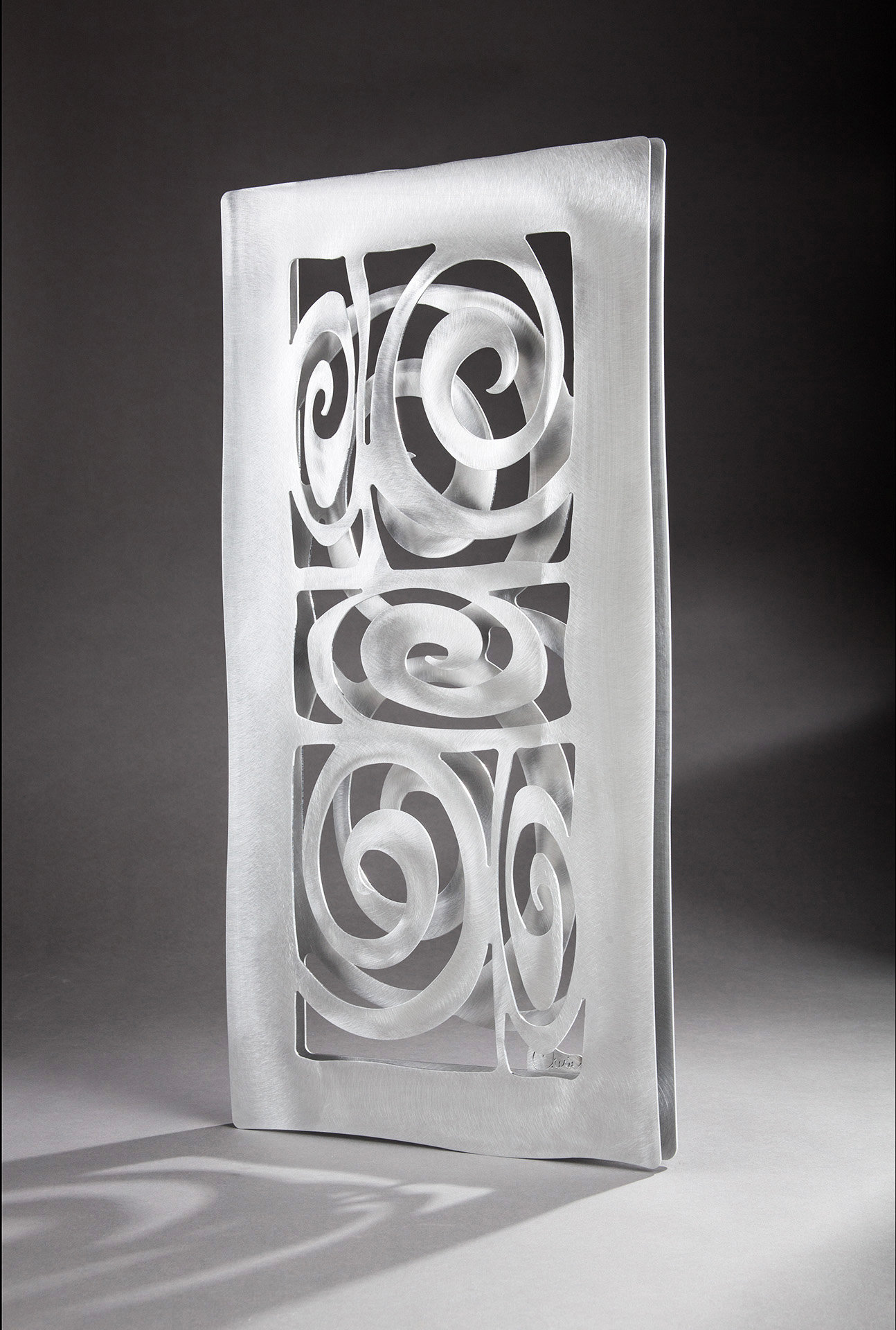 Metal Sculptures And Art Wall Decor: Spirals Confined To A Rectangle By Cherie Haney (Metal