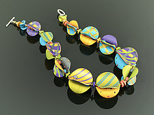 Wings Necklace Round in Multi Mix by Arden Bardol (Polymer Clay Necklace)