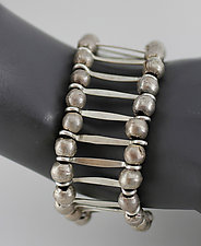 Silver Bracelet with Leather and Beads by John Siever (Silver Bracelet)
