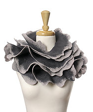Rose Scarf in Grays by Jenne Giles  (Silk & Wool Scarf)