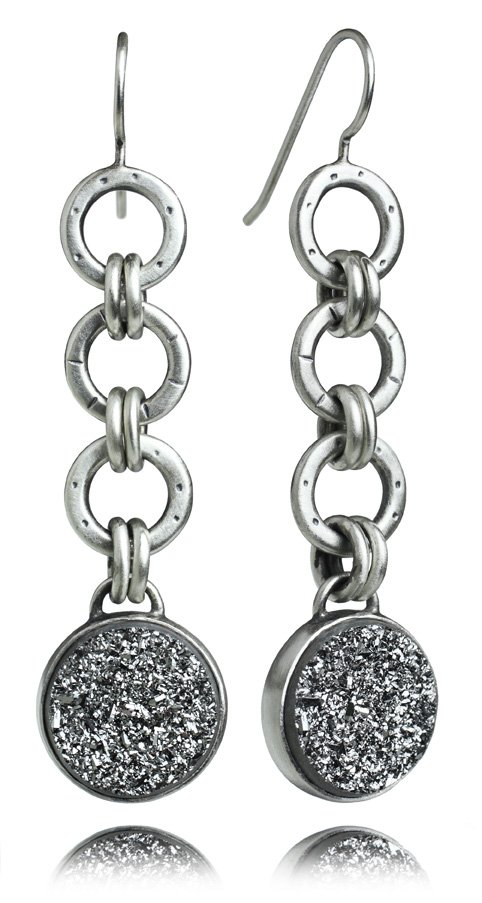 Oscar Flexi Earrings with Silver Drusy