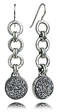 Oscar Flexi Earrings with Silver Drusy by Jodi Brownstein (Silver & Stone Earrings)