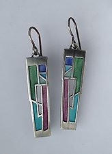 Crevasse Earrings No. 306 by Carly Wright (Enameled Earrings)