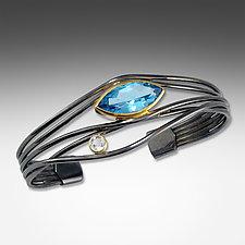 Black and Gold Blue Topaz Edge Bracelet by Suzanne Q Evon (Silver & Stone Bracelet)