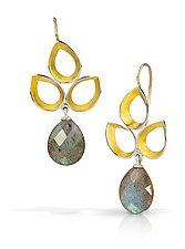 Ravenna Leaf Drop Earrings by Thea Izzi (Gold, Silver & Stone Earrings)
