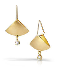 Diamond Fan Drop Earrings by Thea Izzi (Gold & Stone Earrings)