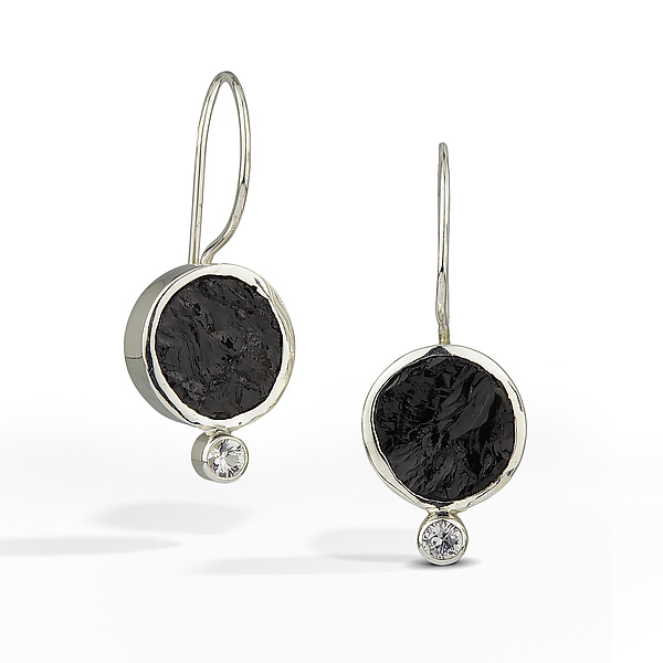 Black Tourmaline - Raw Surface Earring