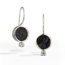 Black Tourmaline - Raw Surface Earring by Danielle Miller (Silver & Stone Earrings)