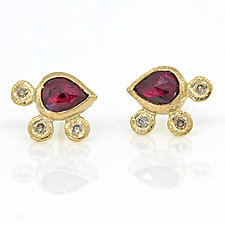 Ruby Pear and Pebble Earrings by Rona Fisher (Gold & Stone Earrings)