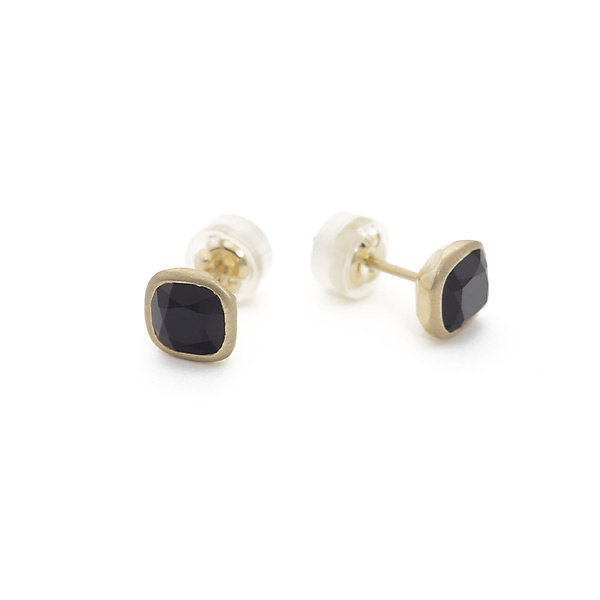 14K Gold and Onyx Cushion Studs