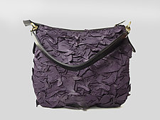 Flat Zipper Bubble Dot Bag in Eggplant by Yuh Okano (Shibori Purse)