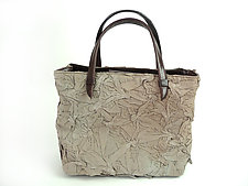 Toto Handbag in Beige by Yuh Okano (Shibori Purse)