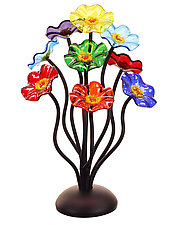 9 Flower in Prism Colors by Scott Johnson and Shawn Johnson (Art Glass Sculpture)
