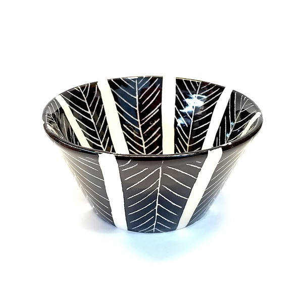 Sgraffito Flared Bowl Black and White