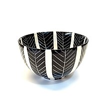 Sgraffito Round Bowl Black and White by Matthew A. Yanchuk (Ceramic Bowl)