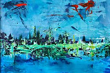 New York City at Midnight by Pamela Acheson Myers (Acrylic Painting)