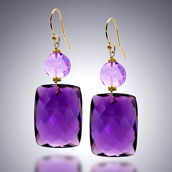 Amethyst and Pink Amethyst Earrings