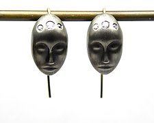 Large Gray Lady Earrings by Hannah Blount (Gold, Silver & Stone Earrings)
