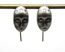 Large Gray Lady Earrings by Hannah Blount (Gold, Silver & Stone Earrings)