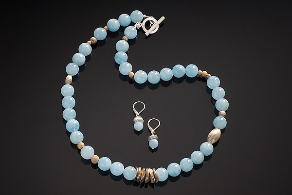 Aquamarine Petals Necklace with Earrings
